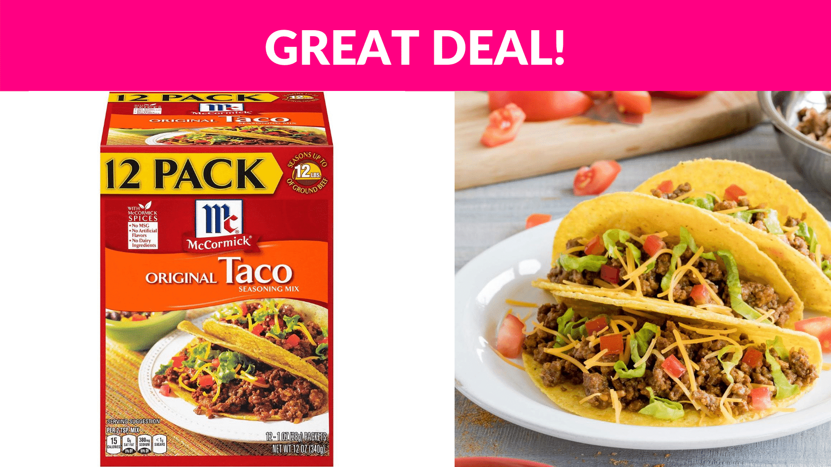 Mccormick Original Taco Seasoning Mix 12 Pack Free Samples By Mail