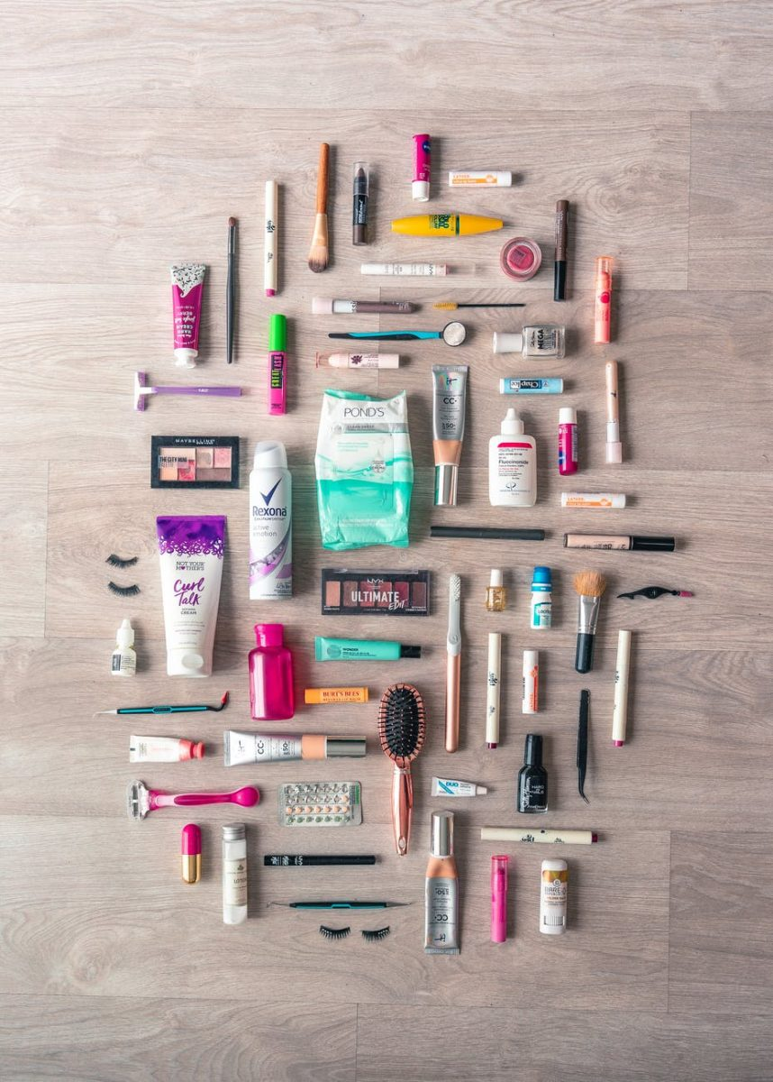 flat lay photography of beauty products
