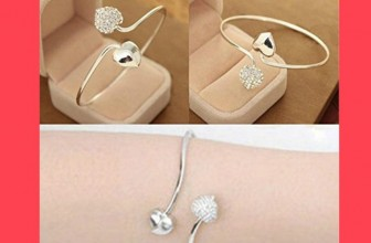 Lady Crystal Double Heart Open Bangles Bracelet $1 + FREE Shipping!