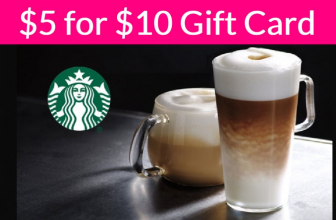 $5 for a $10 Starbucks eGift Card!