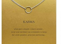 "Circle Pendant "" Karma ""  Necklace ONLY $2.12 & Shipping is FREE!"