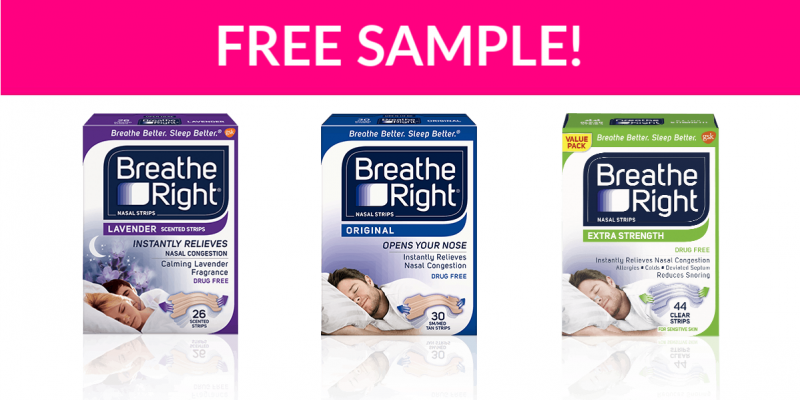 Free Sample by Mail of Breathe Right Nasal Strips