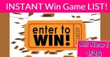 NEW Instant Win Games = NEW TODAY = 1/26/2020!