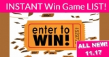 HUGE List of Instant Win Games! All New 11/17 !