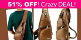 ON FIRE DEAL! Leather Sling Bags Shoulder = 51% OFF !