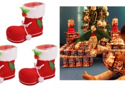 3 Christmas Boot Candy / Present Holders ONLY $3.98 SHIPPED!