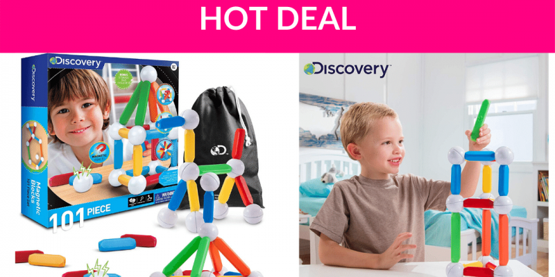 62% Off Discovery Kids 101 Piece Set 101pcs Magnetic Building Blocks, STEM Play Set Toy