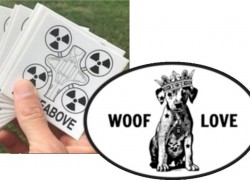 FREE DroneAbove and Woof Love Stickers