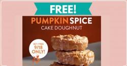 TOTALLY Free Pumpkin Spice Cake Doughnut at Krispy Kreme!