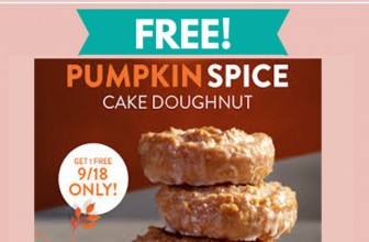 TOTALLY Free Pumpkin Spice Cake Doughnut at Krispy Kreme!