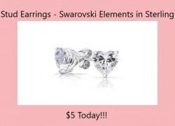 Sweet Swarovski Elements Sterling Silver Heart Stud Earrings $5 (Reg $35.85)