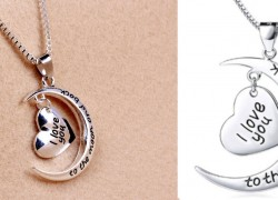 """""""i love you""""  To the Moon & Back Necklace ONLY $2.03 SHIPPED!"""