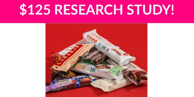 Free $125 Nutrition Bar Research Study!