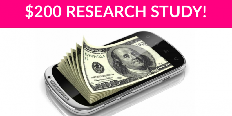 Free $200 Mobile Internet Usage Research Study!